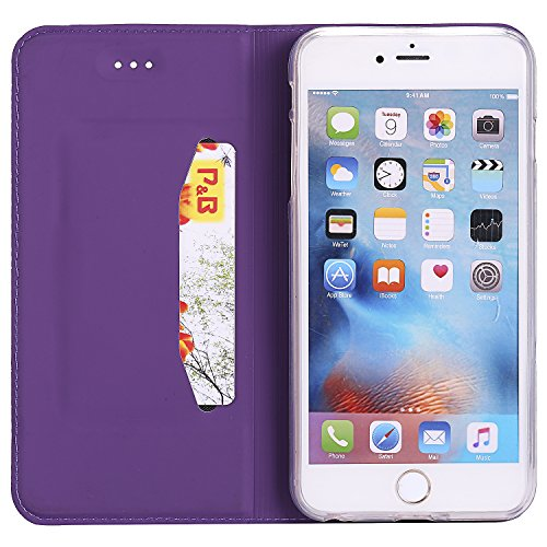 [5.5] BtDuck Cover per iPhone 6 Plus,Cover per iPhone 6S Plus,Glitter Luccichio Modello Ultra Slim Cover Portafoglio Stile Semplice Flip Magnetica Custodia Pelle per iPhone 6 Plus/6S Plus Morbido Sil Viola