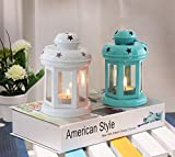 TIED RIBBONS Lantern Candle Holder with Tealight Candle, 6x3.7x3.7-inch(White and Blue) - Set