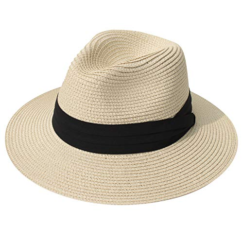 DRESHOW Damen Breiter Krempe Stroh Sommer Panama aufrollen Hut Fedora Strand Sonnenhut UPF50 +
