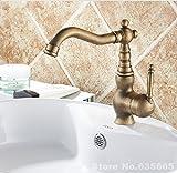 FaucetingSingle salle de bains de luxe rétro poignée évier de navire bassin lavabo robinet mitigeur classique antique de l'eau froide chaude vanne Plomberie Accessoires