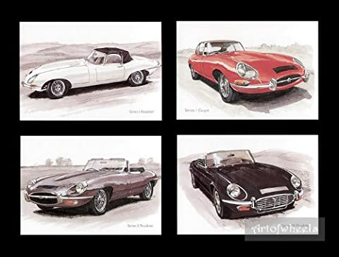 Voitures Art Cartes Postales–XKE Si DHC Jaguar E-Type S1FHC S2DHC S3SII SIII