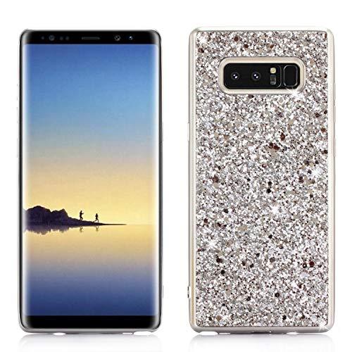 Samsung Note 8 Hülle, Galaxy Note 8 Case Silikon, Huphant Samsung Galaxy Note 8 Handyhülle Glitter Ultra Slim Anti-Scratch Hard PC Case Stoßfänger Rückseitige Abdeckung Samsung Galaxy Note 8 -Silber
