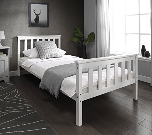 Single Bed White Wooden Frame 3ft x 6ft Modern Single Solid Pine Bed by M & A design MB6