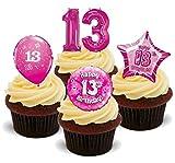 13. Geburtstags Mädchen Rosa Mix - 12 essbare Standup Kuchen-Deko, Kuchendekorationen, essbar, Premium, 2 x A5, für 12 Bilder