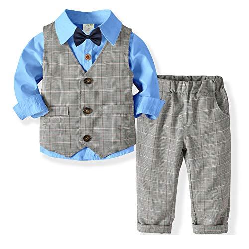 SANMIO 3tlg Baby-Jungen Bekleidungssets Strampler Taufkleidung Set Hemd + Hose + Weste + Fliege Krawatte Anzug für Baby Geburtstag - Jungen Anzug Set