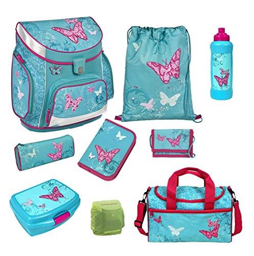 Familando Scooli Butterfly Schulranzen-Set 9tlg. Campus Up mit Sporttasche Schmetterling und Blumen türkis BUKR8252 Mädchen Schultaschen-Set