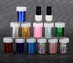 Lifestyle-You 12 Rolls Nail Art Foils with 2 Bottles Special Nail Glue. Nail Decoration Kit.