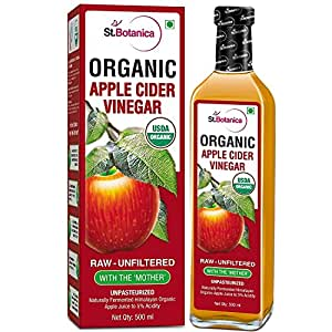 StBotanica USDA Organic Apple Cider Vinegar With The Mother - Raw, Unfiltered, UnPasteurized - 500ml (Glass Bottle)