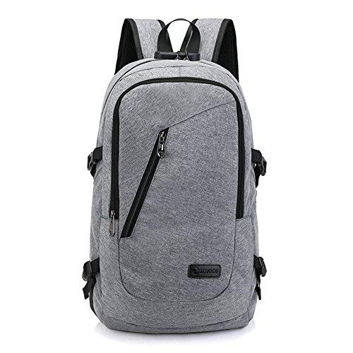 Computer Rucksack mit USB Slot Travel Oxford Sicherheitsschloss Student Bag (Laptop Sperre Kombination)