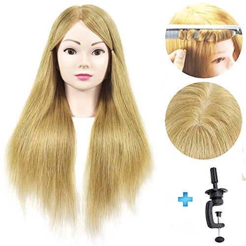 100% Echthaar 50,8cm Mannequin Kopf Friseur Training Head Schraubenmännchen Kosmetologie Puppe Kopf mit Klemme (Mannequin Kopf Und Klemme)