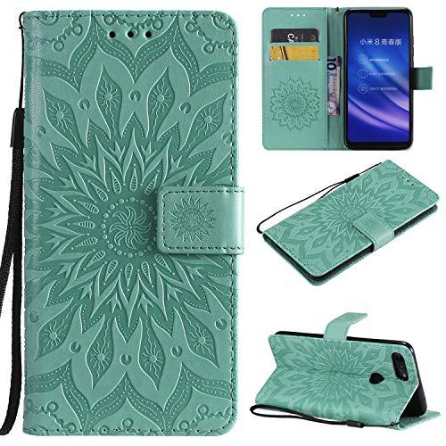 YYhin Schutzfolie für Xiaomi Mi 8 Lite / Mi8 Youth hülle, Cartera Wallet Leder abnehmbare magnetische abnehmbare Tasche mit Flip Schutzhülle Case.(Grün)