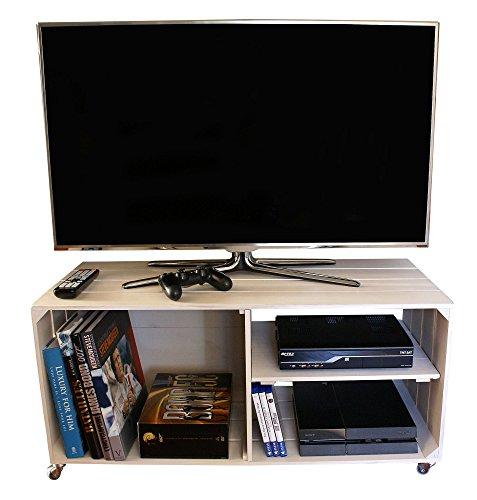 LIZA LINE Meuble TV en Bois 3 Compartiments, sur roulettes giratoires, étagère Amovible - Style Caisse Vintage, Pin Massif - 90 x 40 X 42 cm (Blanc Vieilli)