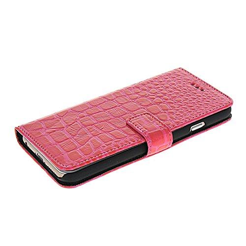 Prayker® Flip Leder Tasche Etui Hülle Case Schutzhülle für iPhone 6 Rot Hot Rosa 02