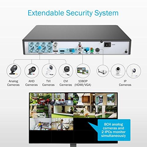 ANNKE-1080P-8CH-Kit-de-Seguridad-8-Cmaras-de-Vigilancia-CCTV-HD-DVR-2MP-H264-IR-Cut-Sistema-de-Vigilancia-Exterior-y-Interior-Cmara-Impermeable-Infrarrojos-No-Disco-Duro