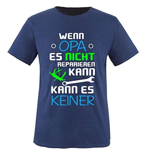 comedy-shirts-wenn-opa-es-nicht-reparieren-kann-kinder-t-shirt-navy-weiss-blau-neongrun-gr-134-146