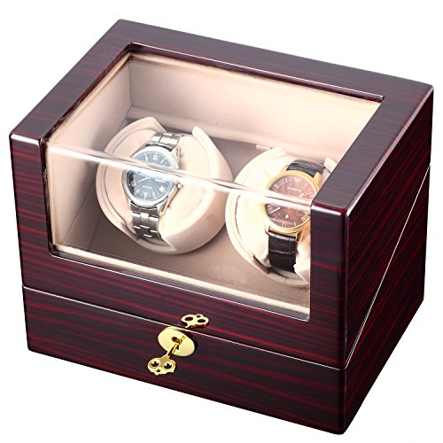 CHIYODA Double Watch Winder with Quiet Mabuchi Motor, LCD Digital Display [100% Handmade]