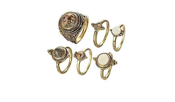 Gouttelettes deau Pebbles Knuckle Rings Set Femmes Vintage Charme Bijoux Cadeau Durable et Pratique