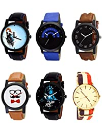 NIKOLA Brand New Chronograph Mahadev Beard Style Black Blue And Brown Color 6 Watch Combo (B22-B47-B36-B53-B23...