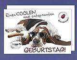 Geburtstag Karte Grußkarte Glücksbringer AvanTalis Hund Sonnenbrille C6