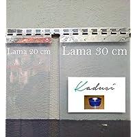 Kadusi Rollo de 50mts de Lama de plástico PVC Transparente de 20 cm de Ancho y 2mm de Espesor. Alta Calidad.Resistente al Sol.