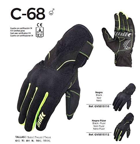 -UNIK- C-68 Guanti estivi per moto con tessuto ventilato. Colore: nero/fluorescente. Omologati. XXL nero fluo