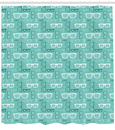 ABAKUHAUS Geek Duschvorhang, Silhouette Doodle Brille, mit 12 Ringe Set Wasserdicht Stielvoll Modern Farbfest und Schimmel Resistent, 175x240 cm, Mehrfarbig