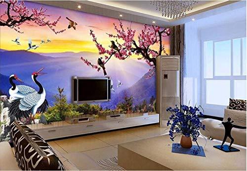 Fototapete Plum Blossom Crane 3D Art Design, das Wohnzimmer-Schlafzimmer Fernsehhintergrund-Wand verziert -
