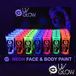 uv glow lot de 96 tubes de peinture fluorescente pour le visage et le corps 96 x 10 ml amazon. Black Bedroom Furniture Sets. Home Design Ideas