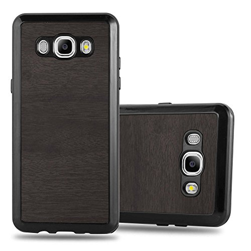 Preisvergleich Produktbild Cadorabo Hülle für Samsung Galaxy J5 2016 (6) - Hülle in Wooden SCHWARZ – Handyhülle aus TPU Silikon in Vintage Holz Optik - Silikonhülle Schutzhülle Ultra Slim Soft Back Cover Case Bumper