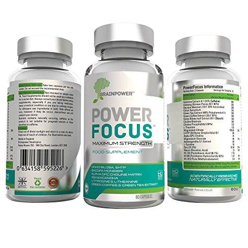 PowerFocus®, die Nr. 1 der nootropischen, pflanzlichen Nahrungsergänzungsmittel fürs Gehirn für geistigen Fokus, Konzentration und Erinnerungsvermögen | L-alpha-Glycerylphosphorylcholin (α-GPC), Fettblätter (20% Bacoside), Theanin, Guaraná, Indischer Ginseng (5% Withanolide), Koreanischer Ginseng (5% Ginsenoside), 5HTP, Ginkgo, grüner Tee, Magnesium, Vitamin B12, Multivitamine | geeignet für Studenten, Unternehmer, Männer, Frauen, Sportler, ältere Menschen | 30-tägige Geld-zurück-Garantie