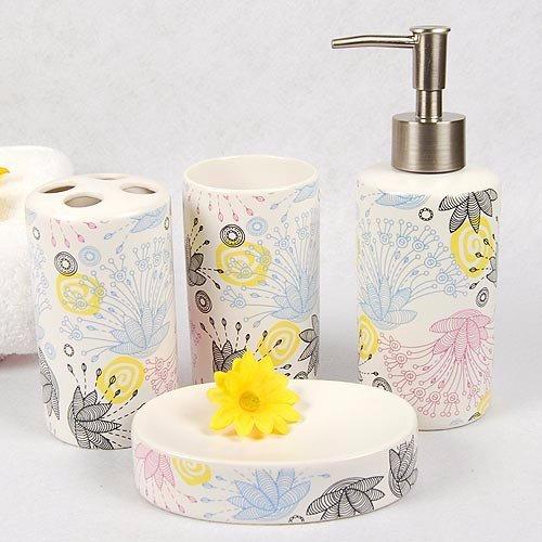 4 Pc Ceramic Bathroom Set Toiletries Toothbrush Holder Accessories Amenities