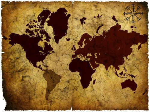 Seven Rays Vintage World Map 03 Medium Poster for Room/Home/Office, Size 18 X 24 Inches