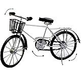 Unbekannt XXL großes -  Fahrrad / Bike - E-Bike - mit Korb - schwarz / Silber  - 48 cm - aus Metall - Dekofahrrad groß - Innen & Außen - Garten - für Kinder & Erwachs..