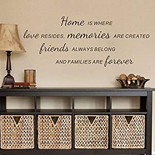 Funny Sayings Decal Religious Quote Decal Home is Where Love Resides Memories are Created Family Love Murals Room Decoration (9hx22w)