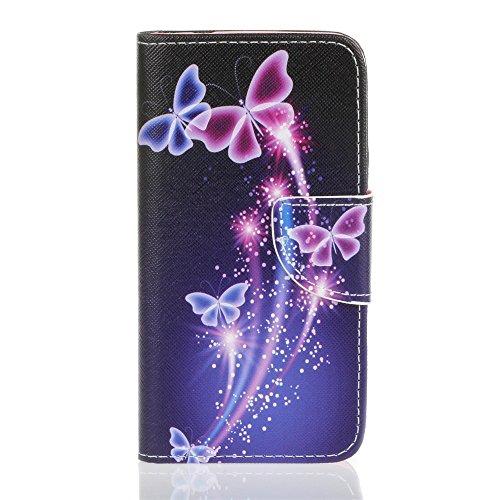 Protection Pour iphone 7 plus - Étui à Rabat Portefeuille Coque en Cuir Pour iphone 7 plus 5.5 pouces Etui de Protection Flip Case Cover Avec Intérieur Poches pour les Cartes -Couple de pissenlit HX Purple Butterfly