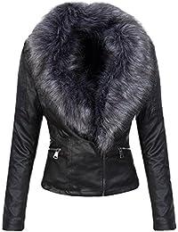 Kunstleder Damen Jacke Kunstfellkragen Winterjacke Leder-Optik Damenjacke D-352  S-XL 0497aa912e