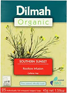 Dilmah Organic Rooibos Infusion Box String and Tag Tea Bags 45 g (Pack of 6, 25 Bags Each)
