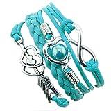 DAY.LIN Armband Damen Armbänder 1PC Unendlichkeits-Liebes-Herz-Perlen-Freundschafts-Antike-Leder-Charme-Armband (C)