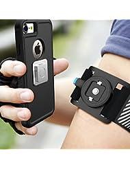 Matone Universal Sportarmband für iPhone 7/7 Plus/6/6s/5, Samsung Galaxy S8/S8 Plus/S7/S7 Edge mit Magnetische Mount und verstellbarem Klettband Ideal für Joggen Laufen Radfahren Wandern (Schwarz)