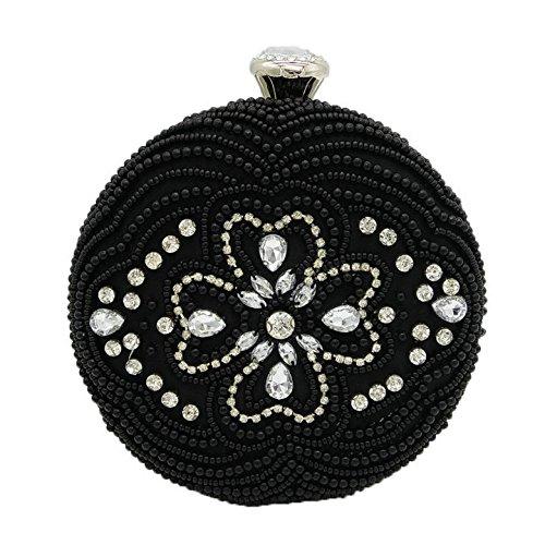 WenL Abendtaschen High-End-Handgefertigte Perlen Dinner Bag Package Clutch Bag,Black (Plissee-clutch)
