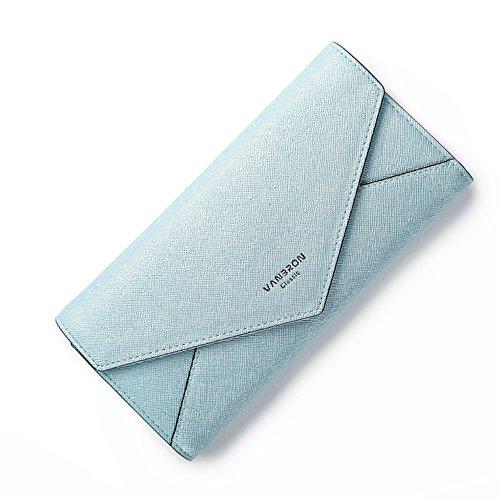 Woolala Womens Envelope Long Wallet Pieghevole Pu Borsa Frizione In Pelle Elegante Per Partito, Shopping E Viaggi, Rosa Blue