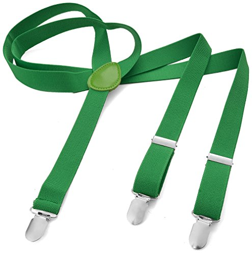 Herren Damen Long Hosenträger Y Form Style 3er Clips elastisch Schmal Unifarbe und Bunt mit verschiedenen Motiv, Grün (Grasgrün),Gr. One Size