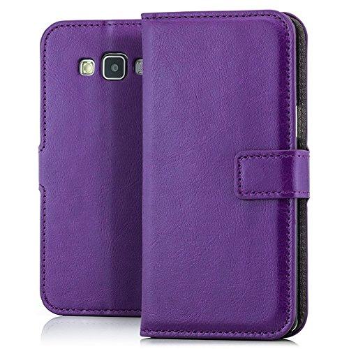 Coque Apple iPhone SE / 5 / 5S [Saxonia] Housse Etui Ultra Mince Case Flip Cover avec Poche intérieur Wallet Haute Qualité Marron violet