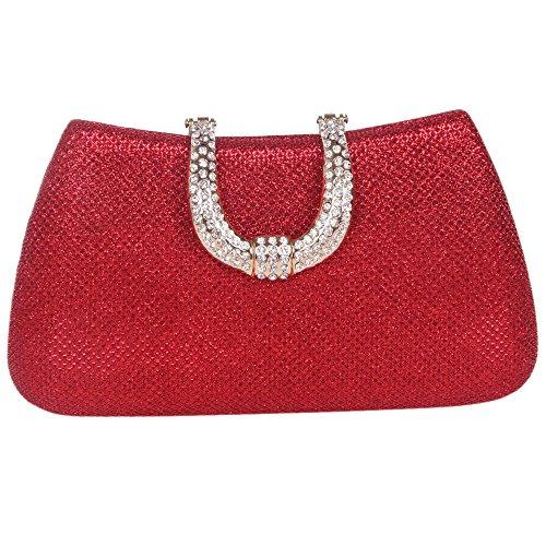 Bonjanvye Glitter Initials Hand Purses for Women Evening Clutch Bag Black Red