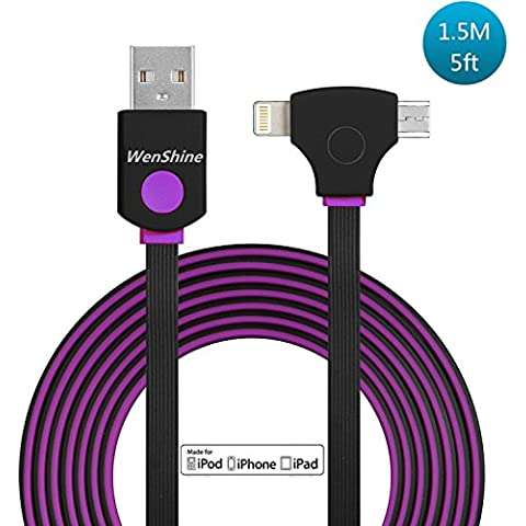 2en 1cable USB de alta velocidad, USB 2.0a cable Apple Lightning y Micro USB Cable de sincronización de datos y cable de carga para Apple Iphone Y Android teléfonos (1,5metros) con indicador