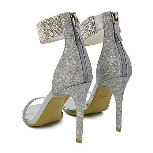 ESSEX GLAM  Diamante Ankle Strap Sandals, Bride de cheville femme paillettes argentées