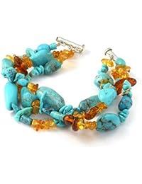 Bling Jewelry Tres filamento Ámbar azul Turquesa Pulsera de Plata Eterlina
