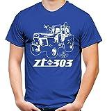 Uglyshirt87 Traktor ZT Männer und Herren T-Shirt | 305 Oldtimer DDR Landwirt Bauer | M2 (S, Blau)