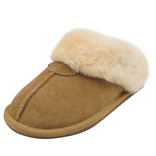 Senhoras Oasap Moda Chinelos De Lã Inverno Quente Camurça Marrom