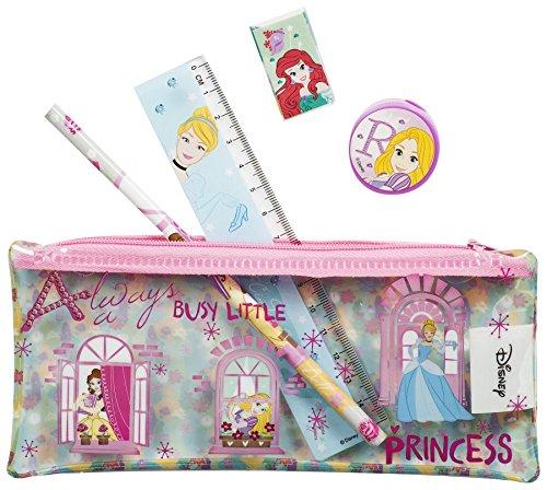 Disney princess, astuccio in pvc completo di cancelleria, set per il ritorno a scuola o regalo, 5 pezzi